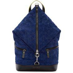 Jimmy Choo Blue Suede Origami Fitzroy Backpack