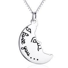 Cheap necklace for two, Buy Quality necklaces for women directly from China necklace wholesale Suppliers: YAFEINI Wholesale 925 Sterling Silver Moon Necklace Engraved Jewelry Two Side Charm Necklace For Women Sterling Silver Choker Necklace, Sterling Silver Chains, Silver Jewelry, Engraved Jewelry, Engraved Necklace, Back Jewelry, Fine Jewelry, Back Necklace, Moon Necklace