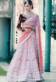 e0c2269e10c Peach and brown designer party wear lehengha - Desi Royale - 1 Bridal  Lehenga Choli