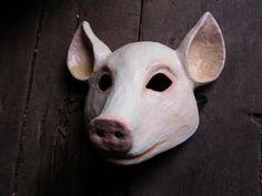 Paper mache animal mask pig mask masquerade mask by EpicFantasy