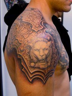 lion shoulder armor for CJ Great Tattoos, New Tattoos, Body Art Tattoos, Tribal Tattoos, Tattoos For Guys, Sleeve Tattoos, Tattoo Sleeves, Tatoos, Lion Tattoo
