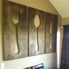 Fork And Spoon Wall Art 36'' kitchen art distressed wooden fork spoontimberartsigns