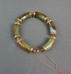 Ming's Honolulu Carved Jade & 14K Gold Segmented Bracelet, Green & Brown Jade #MingsofHonolulu