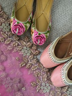 Pink and Floral Punjabi Juttis from the Maharani Shoe Collection at Tyche London. Each is made with real leather and has extra cushioning for comfort.