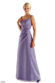 Matte satin A-line bridesmaids gown with pleated waist. This tank style gown is complete with beading on the bodice.