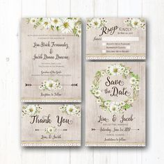 RUSTIC BOHO DAISY COLLECTION This rustic daisies and natural boho themed wedding invitation suite, complete with invitation, rsvp postcard, thank you card, & save the date design features earth tones and dreamy country daisies, natural greenery and romantic typography! The dreamy flowers are accentuated with a natural watercolor background. The coordinating wedding invitation design package is also available (but not included in this listing) & will set a warm and inviting tone for yo...