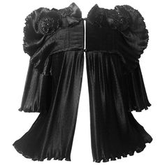 bc6e3909ae1a1 1970s Zandra Rhodes Black Pleated Sculpted Jacket