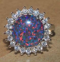 fire opal Cz ring gemstone silver jewelry Sz 8 elegant modern cocktail style HE #Cocktail