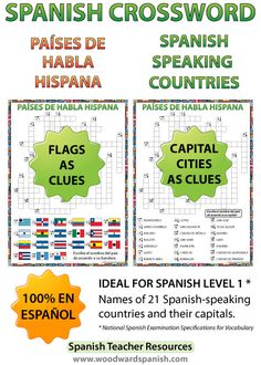 Spanish-speaking Countries Crossword - Crucigrama de los países de habla hispana. There are two versions of the crossword. One version has Flags as clues and the other has the capital cities as clues.