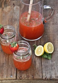 Strawberry-Basil Lemonade. With or without vodka, this seems like a great summer drink.