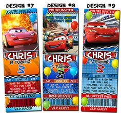 Disney Pixar Cars Lightning McQueen Birthday Party Photo Ticket Invitations - Printable on Etsy, $12.01 AUD