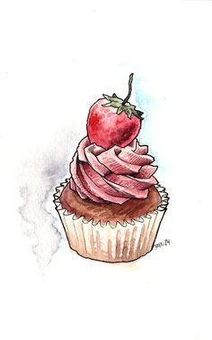 Cupcake ♥ ♥ noms cupcake art, cupcake illustration и watercolor food. Cupcake Illustration, Watercolor Illustration, Cupcake Kunst, Cupcake Art, Cupcake Drawing, Watercolor Food, Watercolor Cards, Watercolor Drawing, Watercolor Design