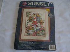 Sunset Counted Cross Stitch Birhouse Garden Stitchery Kit - Lovely Design - Flowers and Birdhouse - Garden Scene - Complete Kit by SecondWindShop on Etsy