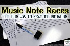 Music Note Races: the fun way to practice dictation. Fun and easy way to make music dictation more engaging. Could use to practice treble or bass clef letter names, solfege, or rhythms. Works with a wide range of ages too. Music Education Games, Music Activities, Violin Lessons, Music Lessons, Music Room Organization, Organization Ideas, Elementary Choir, Music Lesson Plans, Piano Teaching