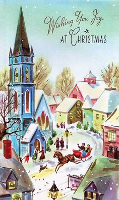 Shop Vintage Winter Christmas Village Scene Holiday Postcard created by ShepherdsGifts. Images Vintage, Vintage Christmas Images, Retro Christmas, Vintage Holiday, Christmas Pictures, Christmas Art, Christmas Greetings, Winter Christmas, Christmas Town