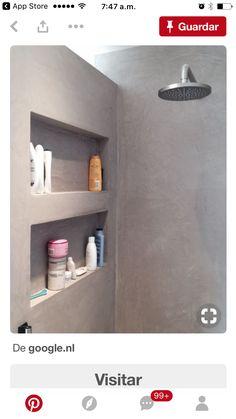 Recessed shelves and recessed lighten I the shower Bathroom Shelves, Small Bathroom, Master Bathroom, Shower Shelves, Bathroom Grey, Bathroom Ideas, Bad Inspiration, Bathroom Inspiration, Recessed Shelves