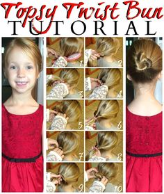 Topsy Twist Bun Hair Tutorial - quick & easy hairstyle for kids! No tears, no fuss! #ad #GoodyStyle