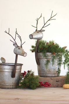 Set of 2 Reindeer Containers - Metal What is Christmas with out at least a couple of reindeer! I am picturing these filled with greenery, ornaments, Christmas Cards, napkins. What will you fill your reindeer with? What Is Christmas, Country Christmas, Christmas Crafts, Reindeer Christmas, White Christmas, Christmas Tree, Metal Bins, Painted Fox Home, Christmas Planters