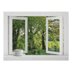 Looking Out on Green - Open Window View with Trees Posters from Zazzle.com