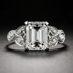 2.03 Carat G/VS1 GIA Emerald-Cut Diamond Art Deco Ring http://www.langantiques.com/products/item/10-1-6659