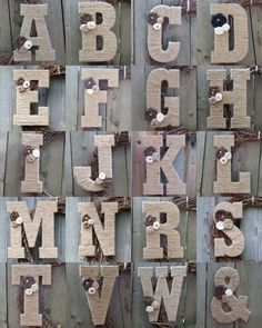 Twine, burlap, and pearl monogram letters. DIY.     ~ Love these! Want to make for living room decor and bedroom decor.
