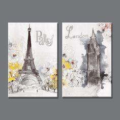 2 шт. абстрактная живопись маслом город лондон и париж холст картина домашнего декора фотографии на стене для гостиной YH29 1870 купить на AliExpress