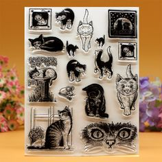 cat Silicone clear stamps for Scrapbooking DIY photo album cards decoration Embossing folder craft rubber stamp Clear Silicone, Diy Scrapbook, Scrapbooking, Office And School Supplies, Diy Photo, Play, Embossing Folder, Clear Stamps, Photo Cards