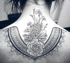 Floral • Linework • upper back tattoo by David Mushaney at Rebel Muse Tattoo #neck back tattoo #cross back tattoo #love you to the moon and back tattoo