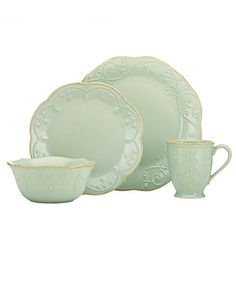 Lenox Dinnerware, French Perle Ice Blue 4 Piece Place Setting - Casual Dining - Kitchen - Macy's
