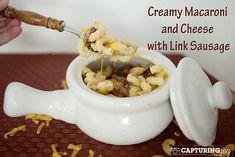 creamy macaroni and cheese with link sausage #pasta #cheese kristendukephotography.com