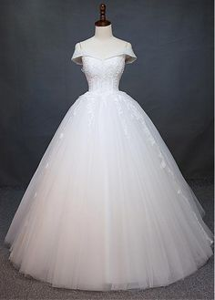 Charming Tulle Off-the-shoulder Neckline Natural Waistline Ball Gown Wedding Dress With Beaded Lace Appliques - Adasbridal.com