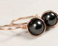 Rose Gold Black Pearl Earrings Wire Wrapped Jewelry Handmade Rose Gold Earrings Black Pearl Drop Earrings Pink Gold Earrings