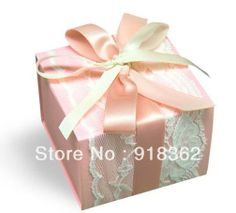 Popular!Free Shipping(50pcs/Lot)Good Quality,Square Drawer Style Pink Paper Wedding Favor Box,w/White Lace,Pink,Champagne Ribbon US $80.11