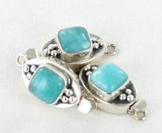 AMAZONITE STERLING 10mm CUSHION CLASP 6 DOT DESIGN from New World Gems