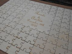 Wood Guest Book Puzzle. Personalized Guest Book by TreeTownPaper