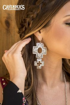 Shop our selection of western cowgirl earrings at Cavender's. Whether you're searching for turquoise, cross, or horseshoe earrings, we have many styles that will make your outfit sparkle. Horseshoe Earrings, Silver Earrings, Diamond Earrings, Silver Jewelry, Jewlery, Cowgirl Jewelry, Western Jewelry, Jewelry Sets, Jewelry Accessories