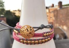 Pink and Grey Leather Wrap Bracelet with Gold Beads by by taglio