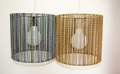"""Lámparas """"RAIN"""". hechas con cadenitas y tiras de gamuza enhebradas de colores"""