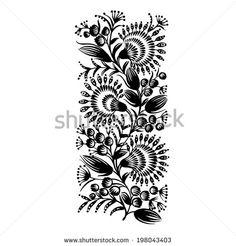 decorative floral silhouette in Ukrainian folk style - stock vector