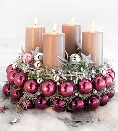 Here are the best DIY Christmas Centerpieces ideas perfect for your Christmas & holiday season home decor. From Christmas Vignettes to Table Centerpieces. Christmas Advent Wreath, Decoration Christmas, Xmas Decorations, Christmas Holidays, Purple Christmas, Christmas Crafts, Advent Wreaths, Reindeer Christmas, Christmas 2019