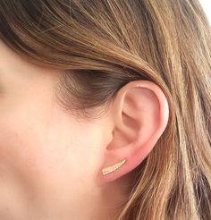 Diamond Ear Climber Gold Ear Climber Gold Pave Ear by GilatArtzi