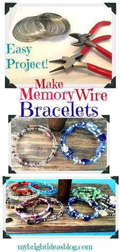 Make Memory Wire Bead Bracelets - My Bri. - Make Memory Wire Bead Bracelets – My Bright Ideas - Memory Wire Jewelry, Memory Wire Bracelets, Memory Wire Rings, Chain Bracelets, Silver Bracelets, Gold Bangles, Bracelet Fil, Bracelet Making, Making Beaded Bracelets