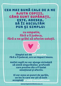 #parenting #citate # părinți #copii #sprijin #emoțional Positive Discipline, My Job, Special Education, Classroom Management, Kids And Parenting, Motto, Personal Development, Montessori, Psychology