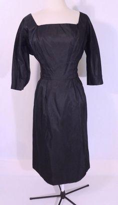 Vintage 1950s 50s Matte Satin Tuxedo Formal Dorothy Dickerson Cocktail Dress L #DorothyDickerson #Cocktail