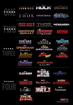 It's a little sad to me that Black Widow origin movie only comes in Phase She was an Original Avengers too yet we have 3 Iron Man and 3 Thor and two frickin Ant-Man! Don't get me wrong,I love those movies but that's just not fair. Marvel Avengers, Marvel Fan, Marvel Dc Comics, Marvel Heroes, Marvel Phase 1, Marvel Movies In Order, Marvel Films, Future Marvel Movies, Upcoming Marvel Movies