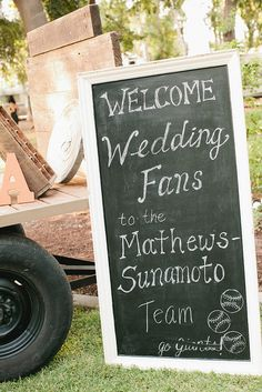 Fleurie's chalkboard, for a baseball themed wedding. Available for rental with full service weddings.