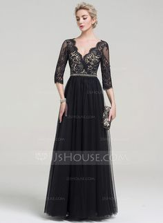 A-Line  V-neck Floor-Length Beading Zipper Up Sleeves Sleeves No Black  Spring Summer Fall General Plus Tulle Evening Dress cf011d04d0b1