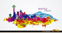 This is a very artistic way to show the great city of Seattle; all covered painted in crazy colors with a blue mountain behind. It is perfect for announcing upcoming artistic events in this city. Under Commons 4.0. Attribution License.