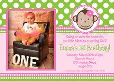 Mod Monkey Birthday Invitation Monkey by TheTrendyButterfly,