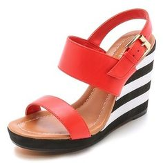 Kate Spade New York Bina Striped Wedges #katespade #red #black #white #stripes #wedges #shoes #sandals #fashion